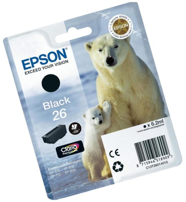 Картридж EPSON T26014010 черный стандартный для XP-600/700/800