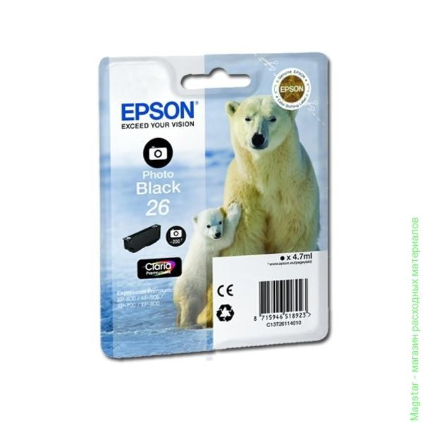 Картридж EPSON T26114010 фото-черный стандартный для XP-600/700/800