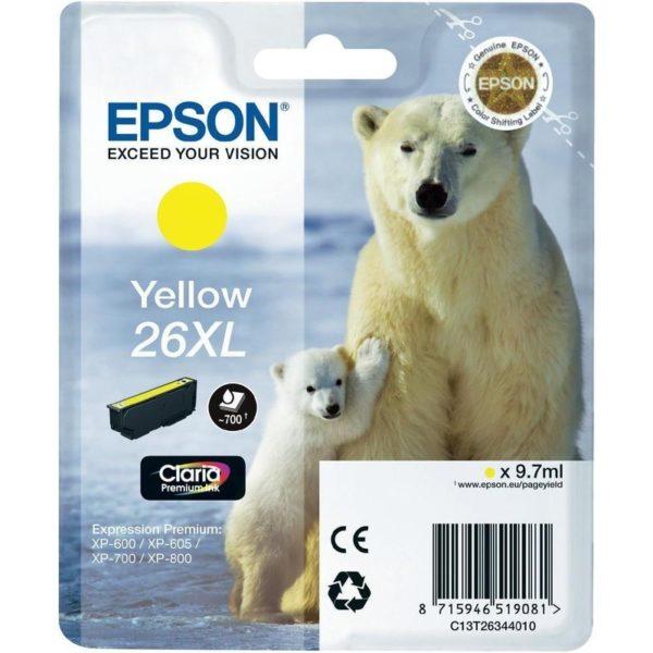 Картридж EPSON T26344010 XL желтый увеличенный для XP-600/700/800