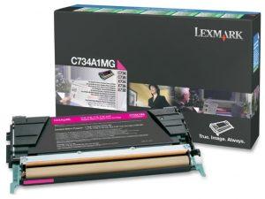 Тонер-картридж LEXMARK C734A1MG малиновый для c73x/x73x